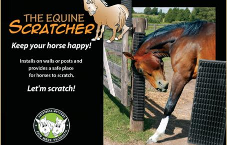 Installs on walls or posts and provides a safe place for horses to scratch